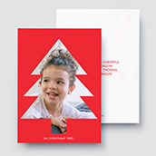 Red Cutout Tree Holiday Card Waterfall