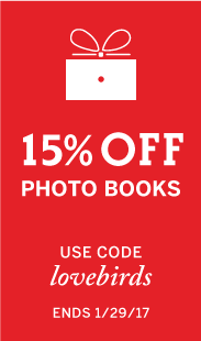 15% Off Photo Books, Use Code: LOVEBIRDS