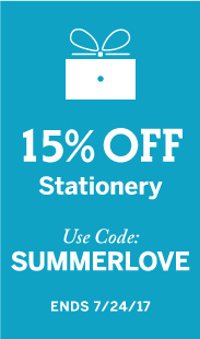 15% Off Stationery, Use Code: SUMMERLOVE