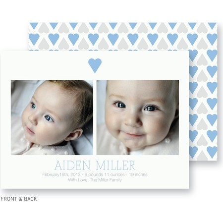 Blue Sweet Hearts Birth Announcement