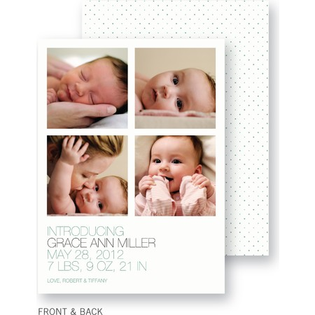 Green Chenille Dots Birth Announcement