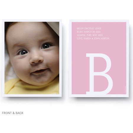 Pink Monogram Birth Announcement