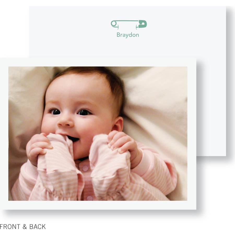 Diaper Pin Photo Thank You Card