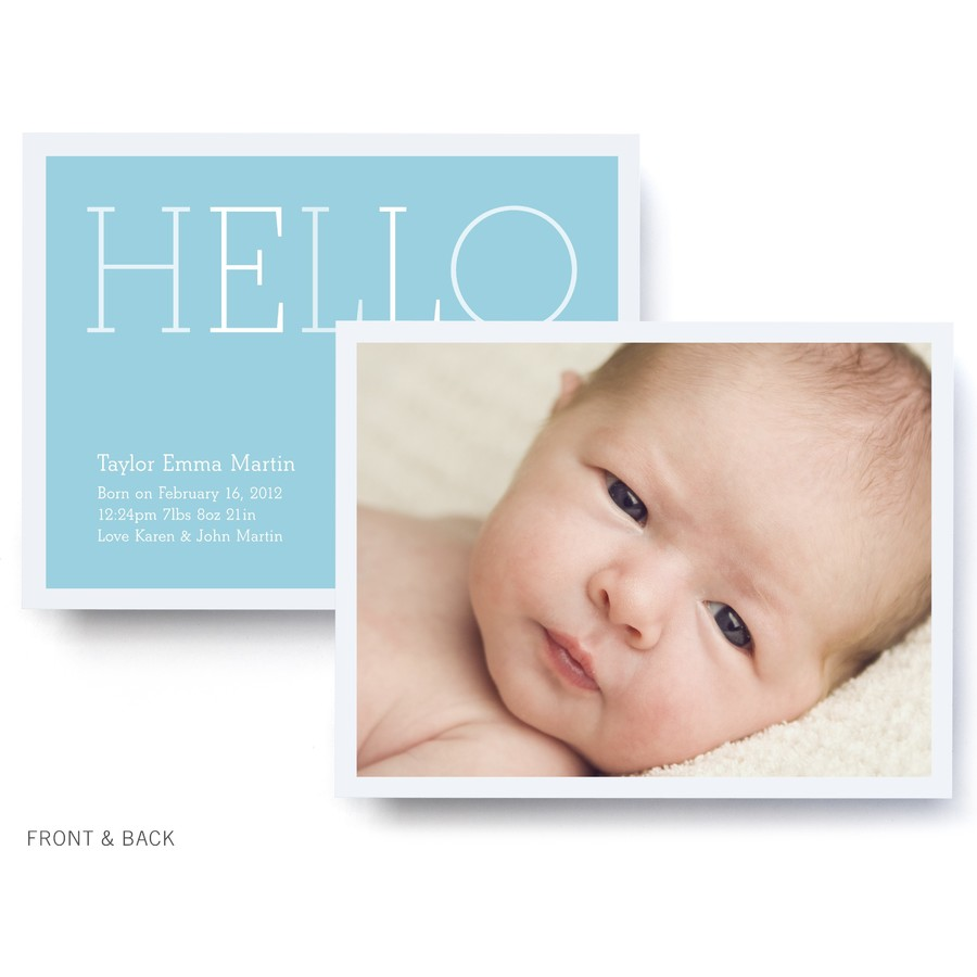 Blue Color Block Birth Announcement