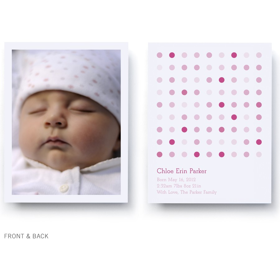 Pink Multi Dots Birth Announcement