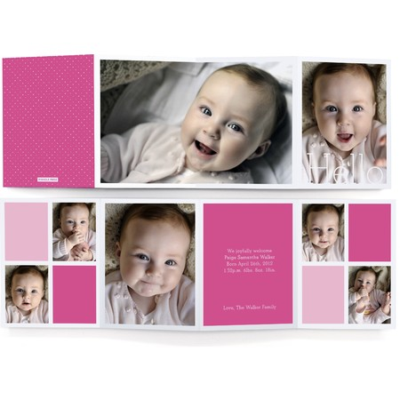Pink Collage Accordion Birth Announcement