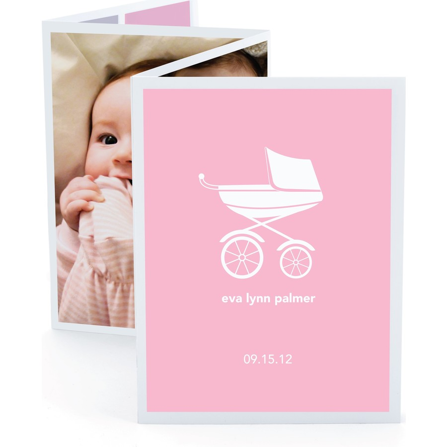 Pink Pram Accordion Birth Announcement