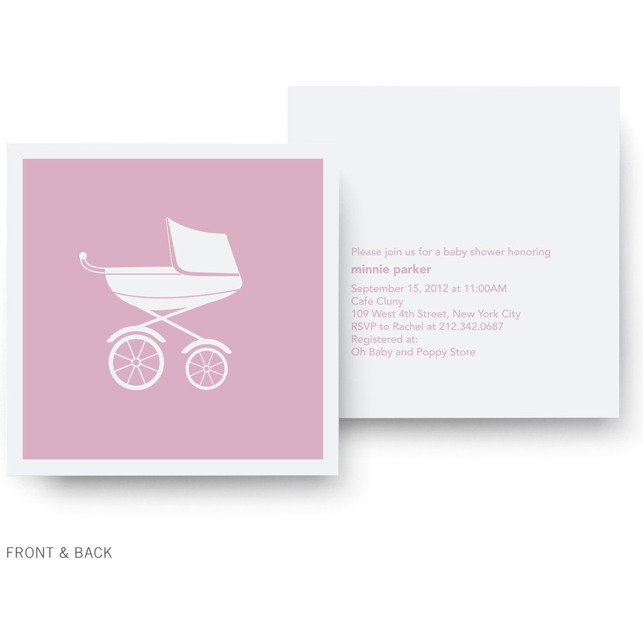Pink Pram Shower Invitation