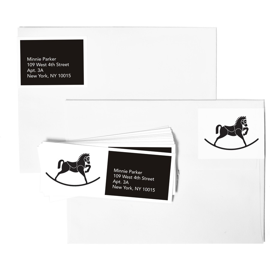 B&W Rocking Horse Address Labels