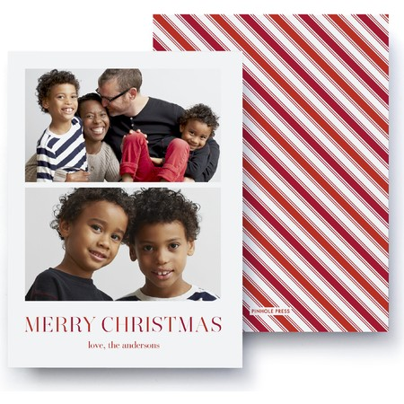 Merry Christmas Stripes Photo Card