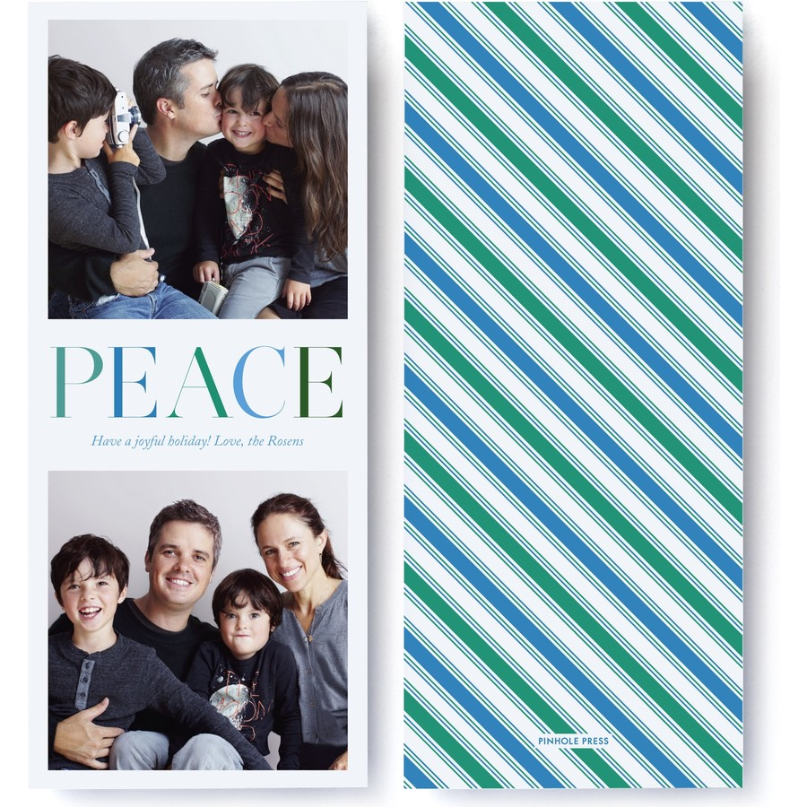 Peaceful Stripes Holiday Photo Card