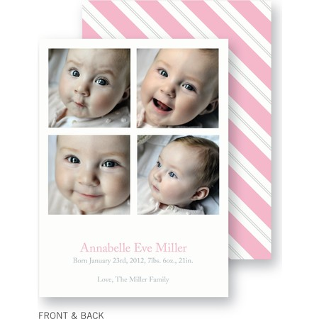 Pink Striped Birth Announcement