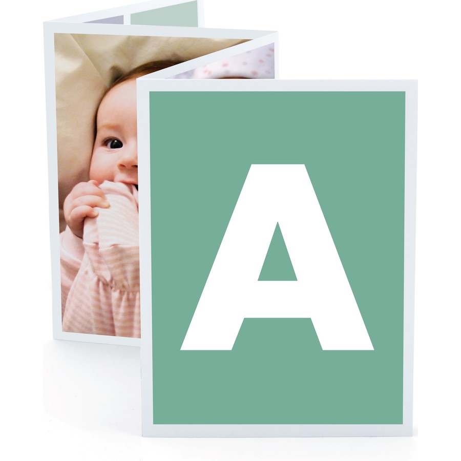 Green Monogram Birth Announcement