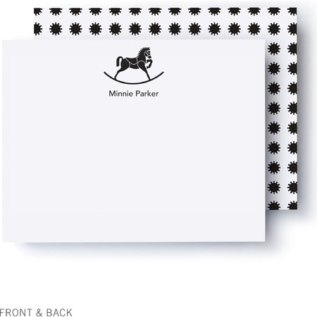 B&W Rocking Horse Thank You Card