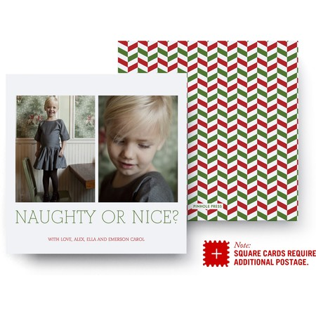 Two Portrait Chevron Holiday Card