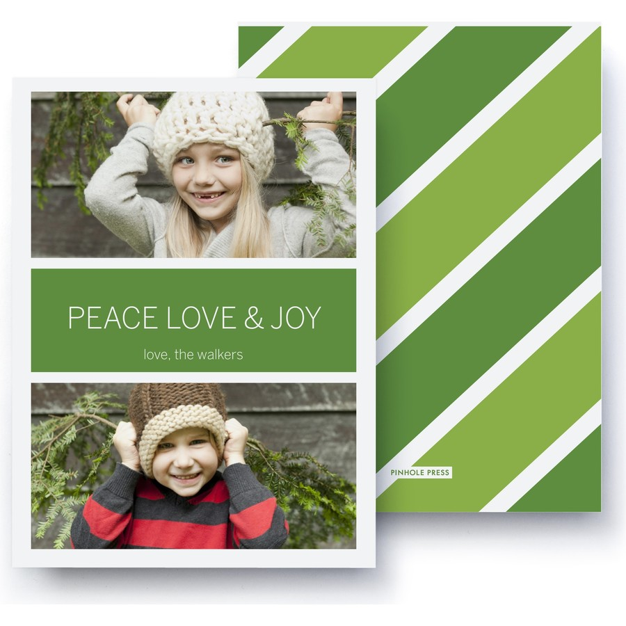 Green Stripes Holiday Photo Card