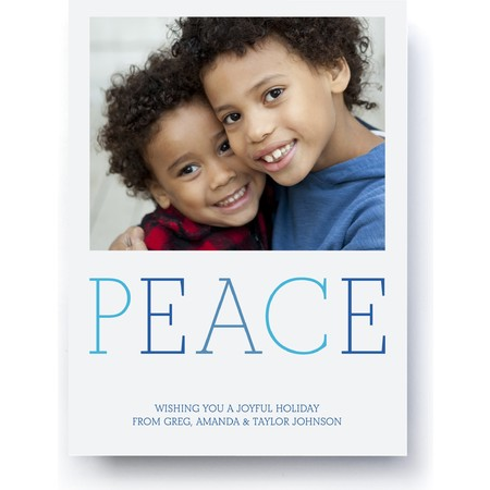 Peaceful Blue Holiday Photo Card