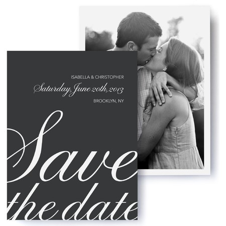 Calligraphic Photo Save The Date Cards
