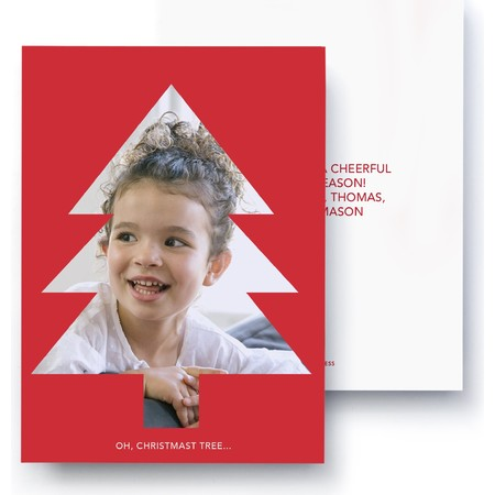 Red Holiday Geometric Photo Card