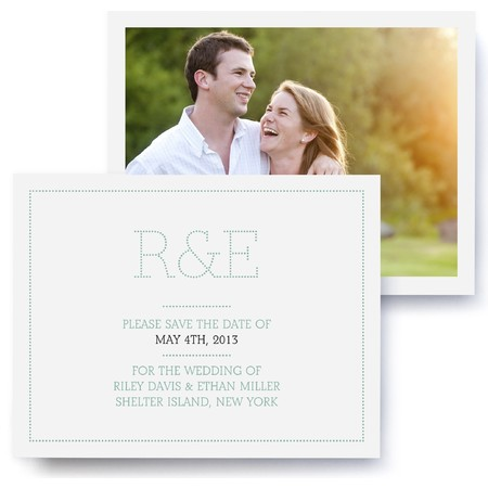 Marquee Monogram Photo Save The Date Cards