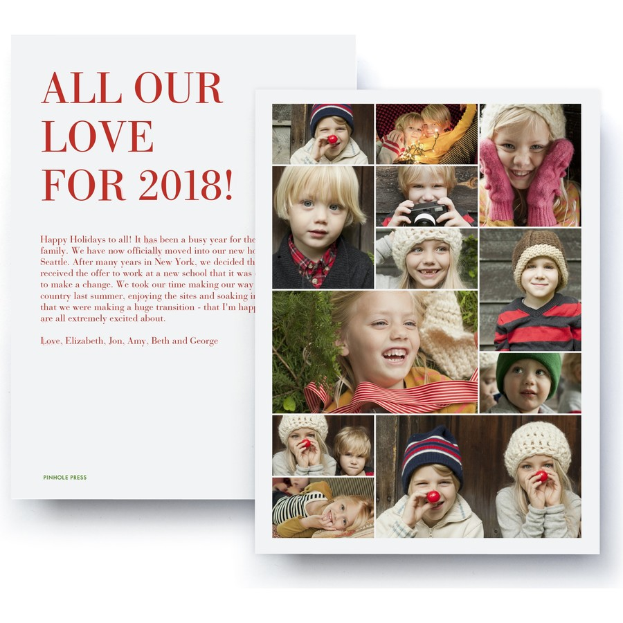 all our love collage holiday photo card