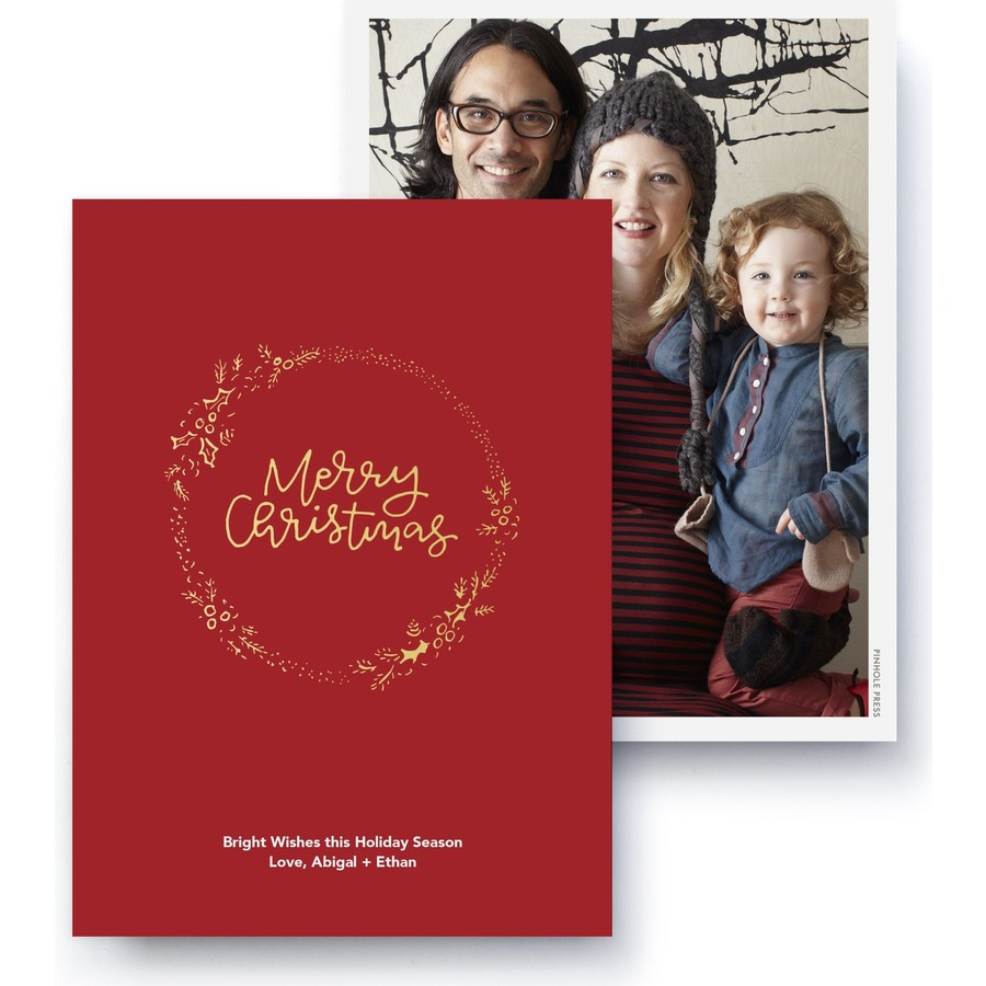 Christmas Wishes Gold Foil Photo Card Front