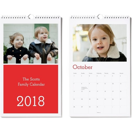 Medium Wall Calendar, Red, Classic Font, Photo Cover