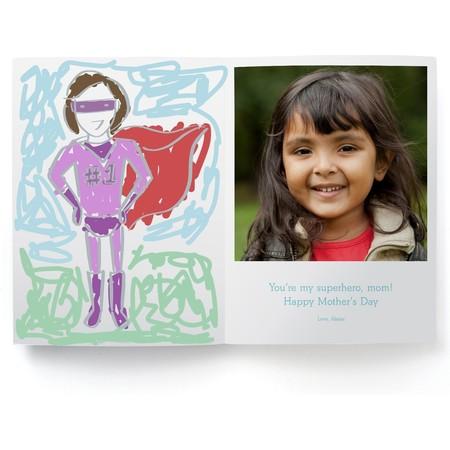 Coloring Superwoman Mothers Day Photo Card, Girl Inside