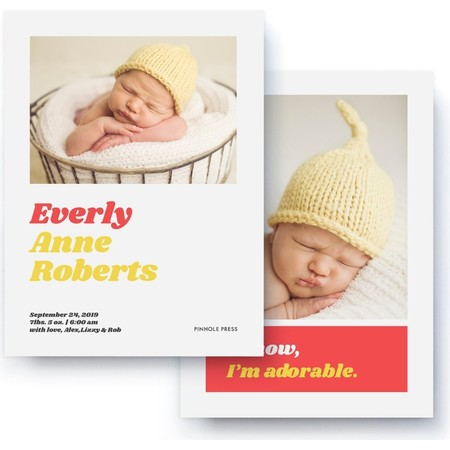 I Know I'm Adorable Red & Yellow Birth Announcement Back Detail