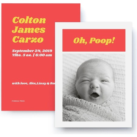 Oh Poop! Red & Yellow Birth Announcement