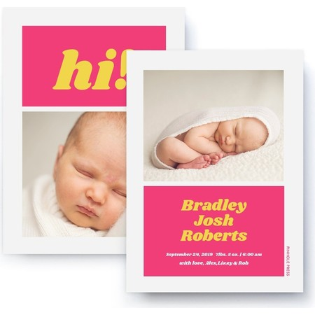 Hi! Pink & Yellow Birth Announcement Back Detail