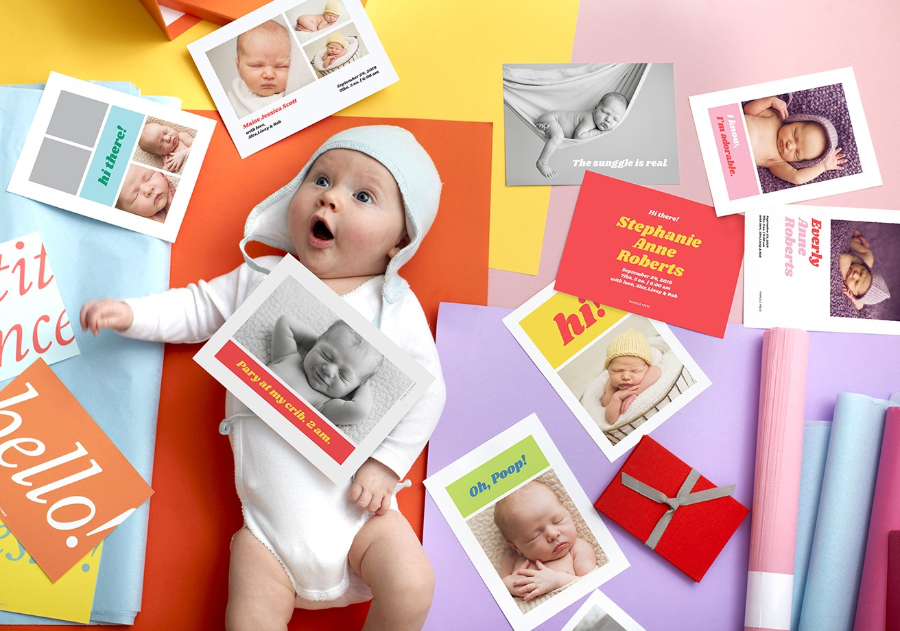New! Baby Announcements in fun bright colors