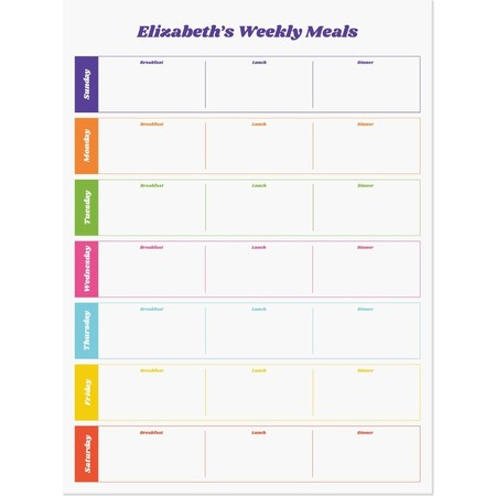 Weekly Meal Planner Dry Erase Decal, Small