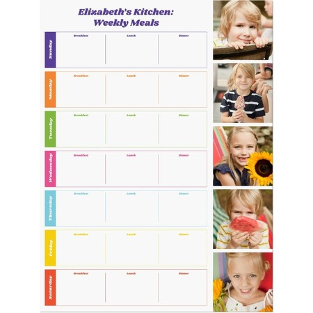 Weekly Meal Planner Dry Erase Decal, Medium
