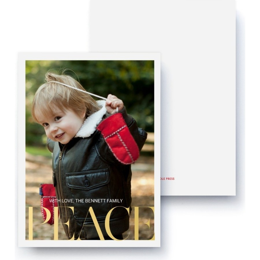 Gold Foil Peace Holiday Card