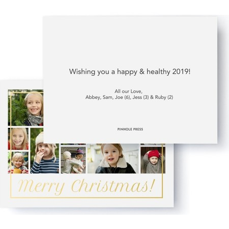 Gold Foil Merry Christmas Collage Holiday Card Back
