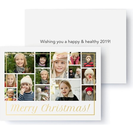 Gold Foil Merry Christmas Collage Holiday Card