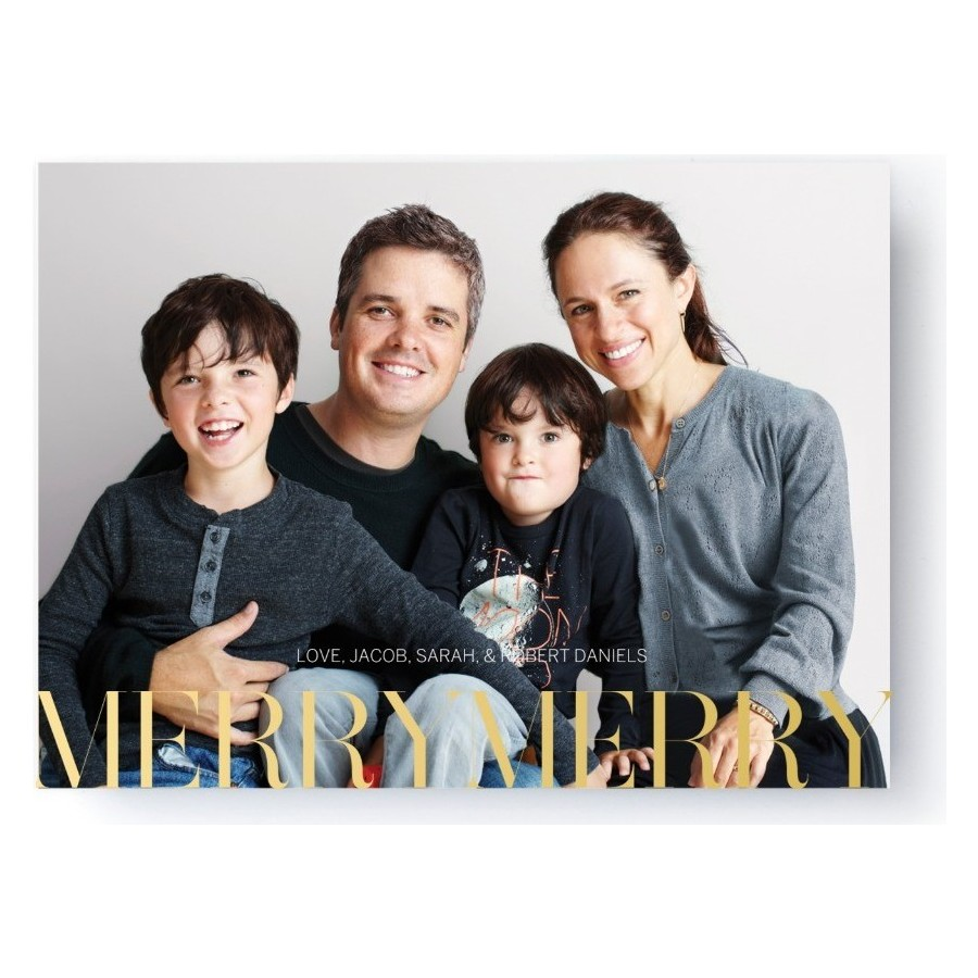 Gold Foil Merry Merry Holiday Card