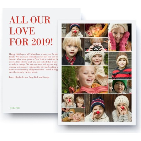 all our love holiday collage card red - Best Holiday Cards