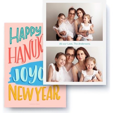 Hanukkah and New Year Wishes Photo Card, Back Detail