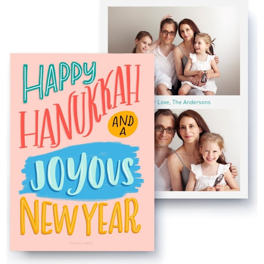 Hanukkah and New Year Wishes Photo Card, Front Detail