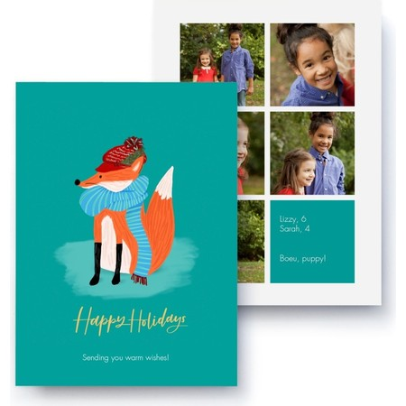 Warm Wishes Fox Holiday Photo Card, Front Detail