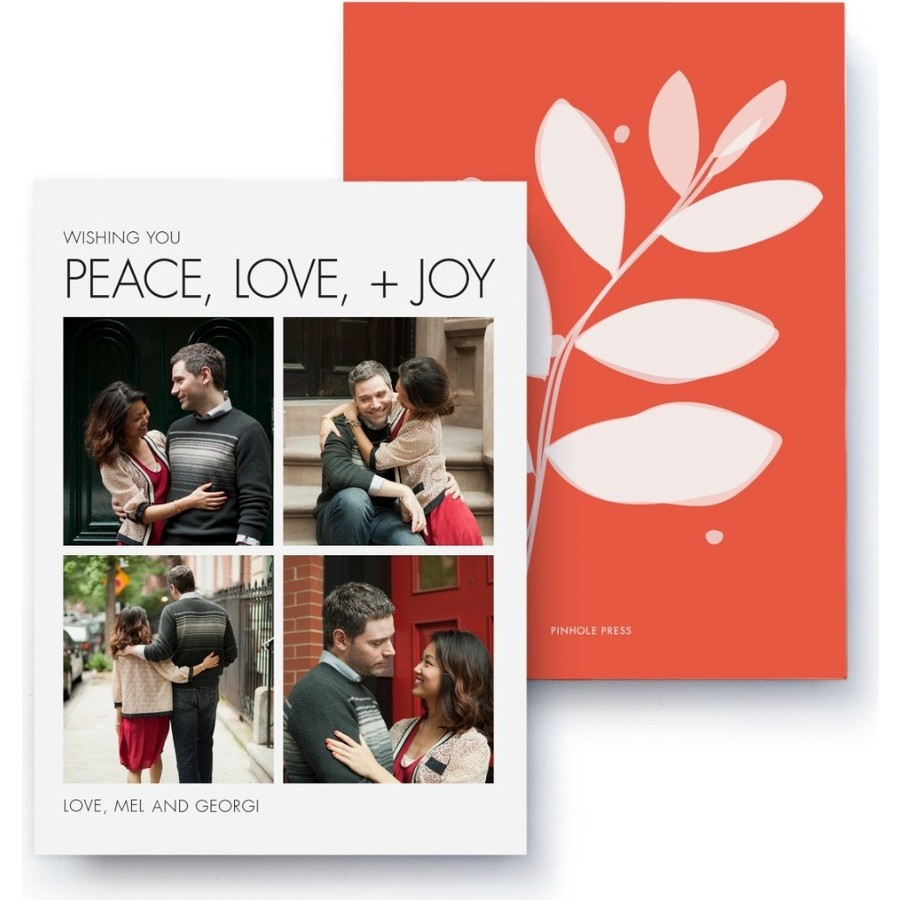 Floral Holiday Photo Card, Front Detail