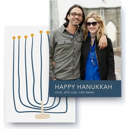Menorah Holiday Photo Card, Back Detail
