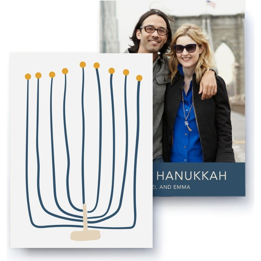 Menorah Holiday Photo Card, Front Detail