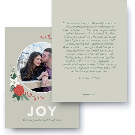 Joy Floral Letter Card, Back Detail