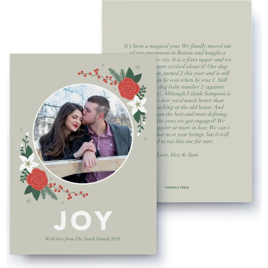 Joy Floral Letter Card, Front Detail
