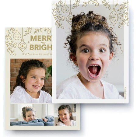 Merry & Bright Collage Photo Card, Back Detail