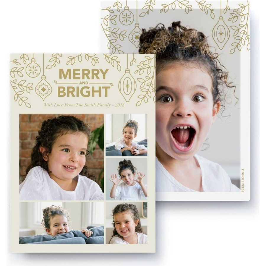 Merry & Bright Collage Photo Card, Front Detail