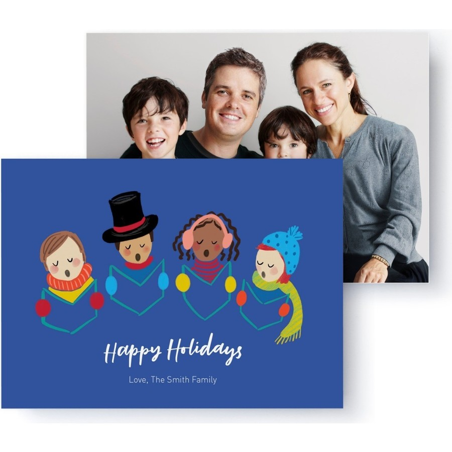 Carolers Holiday Photo Card, Front Detail